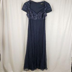 Tadashi Collection Navy Blue Silk Evening Gown